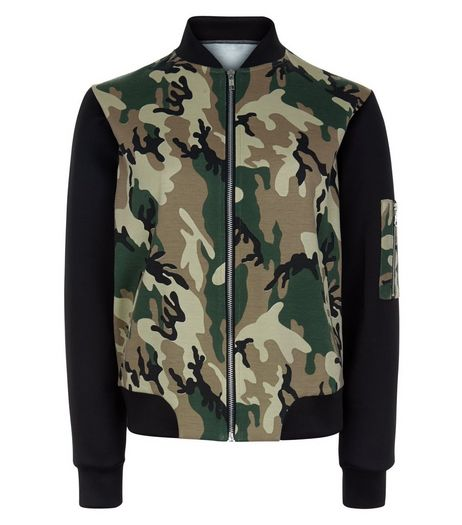 Teens Green Camo Print Colour Block Bomber Jacket | New Look