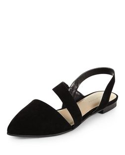 Black Asymmetric Pointed Pumps | New Look