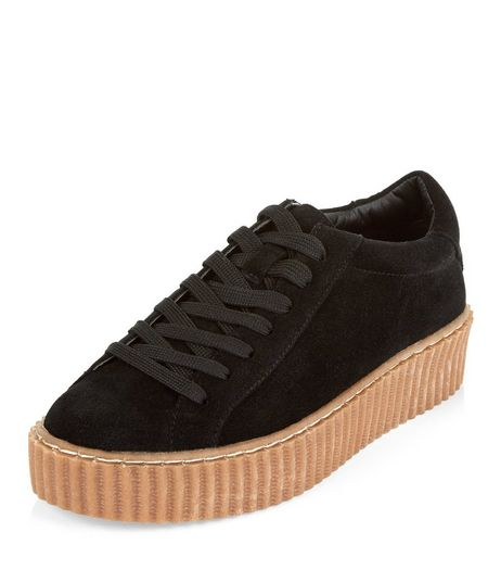 Teens Black Suedette Contrast Sole Creepers | New Look