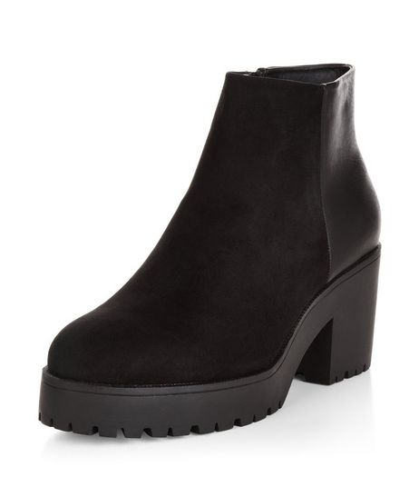 Wide Fit Black Contrast Chunky Ankle Boots  | New Look