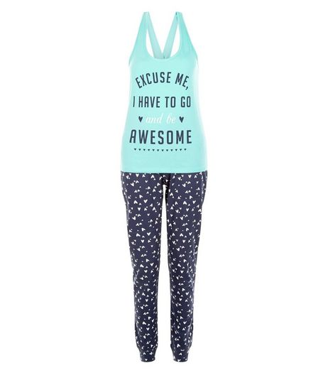 Turquoise Excuse Me Print Pyjama Set | New Look