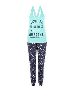 Tall Turquoise Excuse Me Print Pyjama Set | New Look