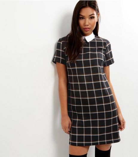 Black Check Contrast Collar Pinafore  | New Look
