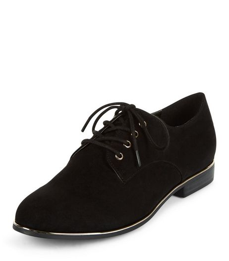 Black Metal Trim Lace Up Brogues | New Look