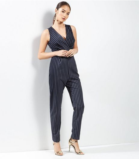 Navy Pinstripe Print Sleeveless Jumpsuit  | New Look