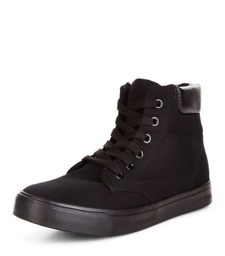 Teens Black Lace Up Hi-Top Plimsolls | New Look