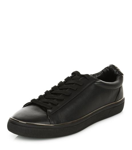 Black Metal Trim Trainers  | New Look