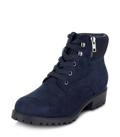 Teens Navy Lace Up Ankle Boots  | New Look