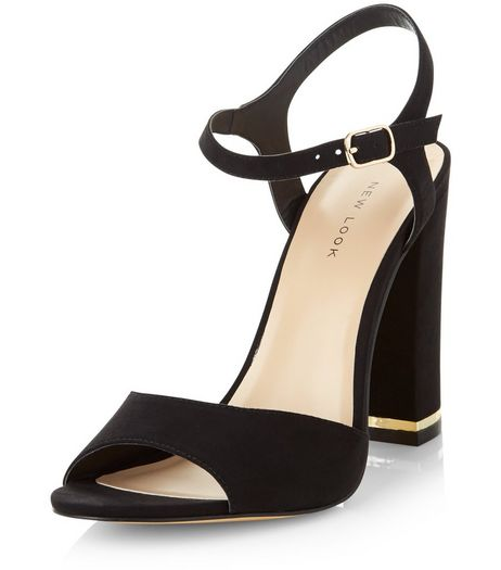 Black Suedette Metal Trim Heeled Sandals | New Look