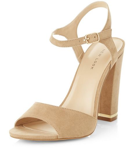 Tan Suedette Metal Trim Heeled Sandals | New Look