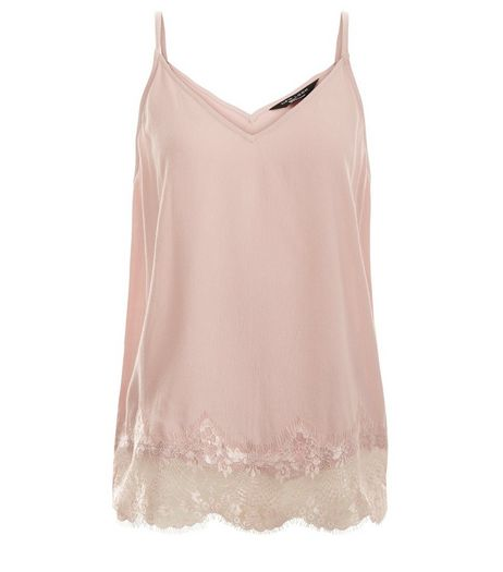 Teens Mid Pink Crepe Lace Trim Cami | New Look
