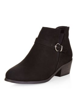 Teens Black Buckle Western Ankle Boots | New Look