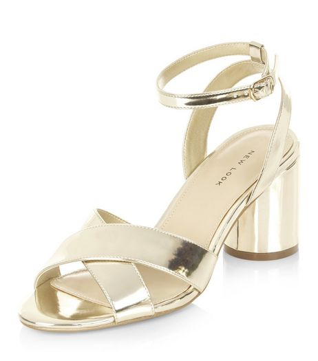 Gold Cross Strap Heeled Sandals  | New Look