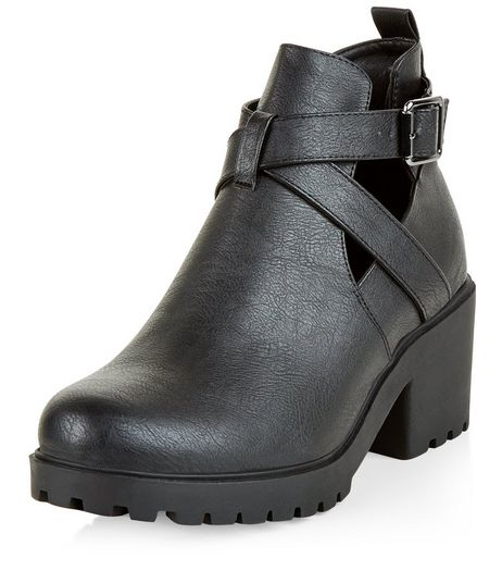 Teens Black Cut Out Block Heel Ankle Boots | New Look
