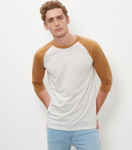 Light Brown Raglan 3/4 Sleeve Top  | New Look