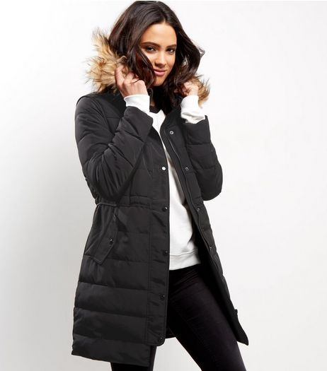 Black Borg Lined Padded Faux Fur Trim Puffer Coat | New Look