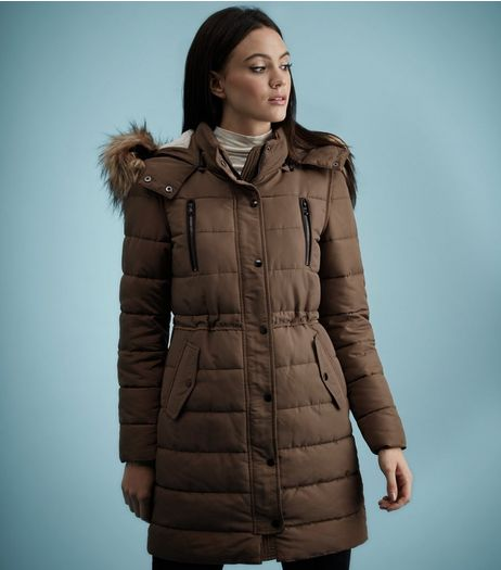 Mink Borg Lined Padded Faux Fur Trim Puffer Coat  | New Look