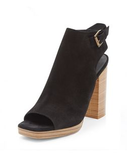 Black Leather Sling Back Peep Toe Block Heel Boots  | New Look