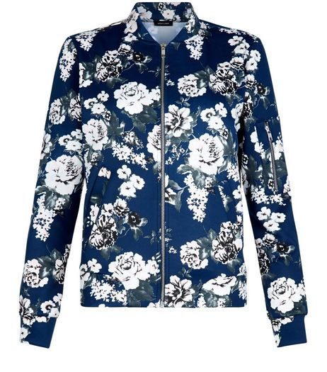 Blue Scuba Floral Print Bomber Jacket  | New Look