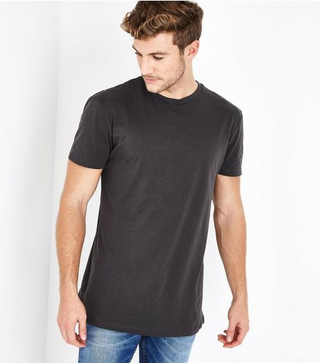 Dark Grey Longline T-Shirt | New Look