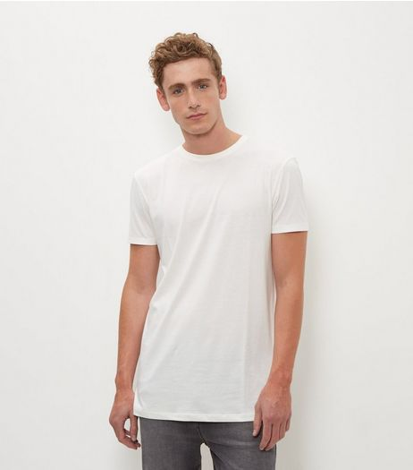 Cream Longline T-Shirt | New Look