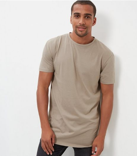 Light Brown Longline T-Shirt | New Look