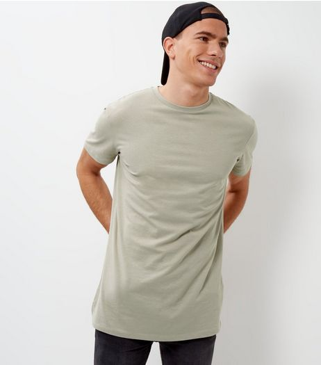 Olive Green Longline T-Shirt | New Look