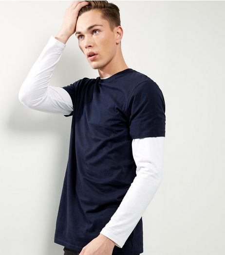 Navy Cotton Short Longline T-shirt | New Look