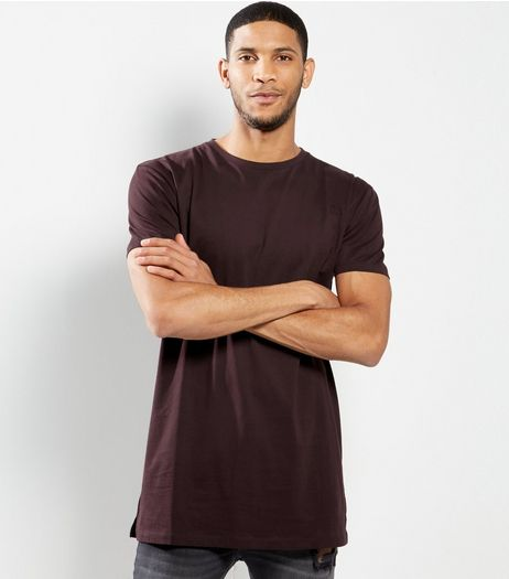 Dark Purple Basic Short Sleeve Longline T-Shirt  | New Look