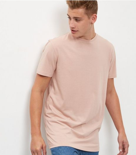 Mid Pink Longline T-Shirt | New Look