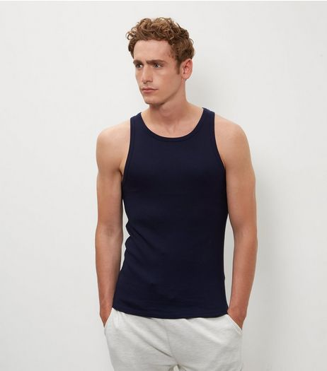 Navy Ribbed Vest | New Look