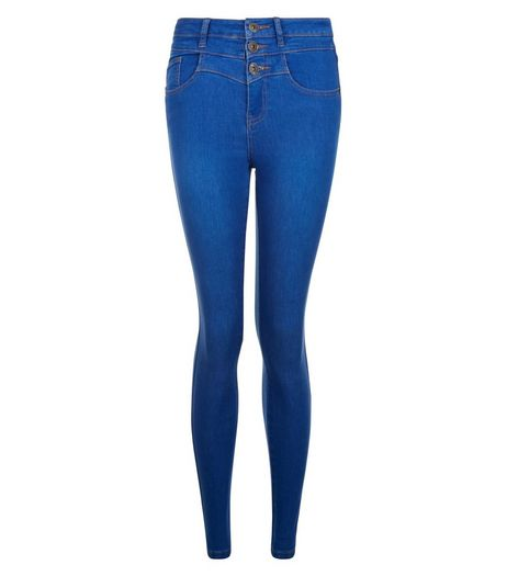 Teens Bright Blue High Waisted Skinny Jeans | New Look