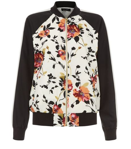 White Floral Print Contrast Sleeve Bomber Jacket | New Look