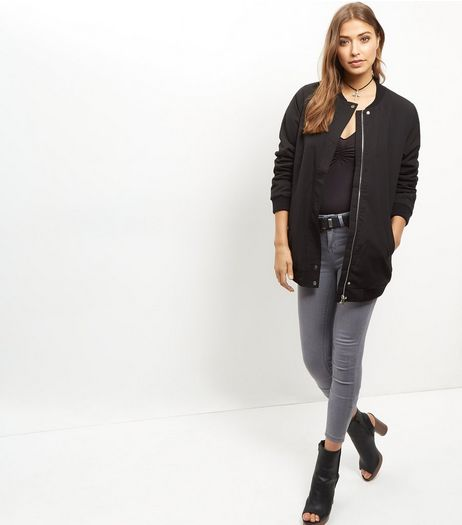 Black Borg Lined Longline Bomber Jacket  | New Look