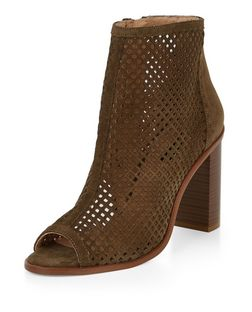 Khaki Leather Laser Cut Out Peep Toe Block Heel Boots  | New Look