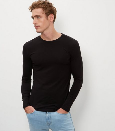 Black Cotton Mix Stretch Crew Neck Long Sleeve Top  | New Look