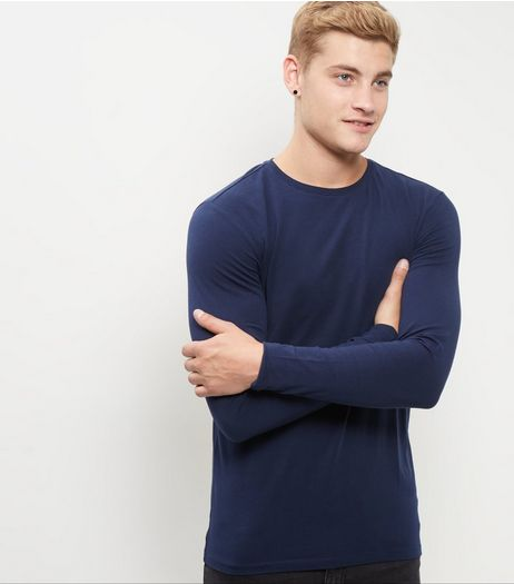 Navy Cotton Mix Stretch Crew Neck Long Sleeve Top  | New Look