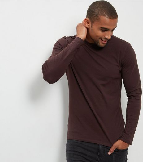 Purple Cotton Mix Long Sleeve Crew Neck T-Shirt | New Look