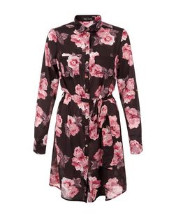 Cameo Rose Black Floral Print Shirt Dress | New Look