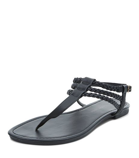 Teens Black Plaited Strap Sandals | New Look