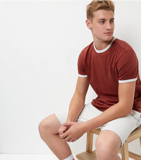 Rust Contrast Trim T-Shirt  | New Look