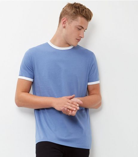 Pale Blue Contrast Trim T-Shirt | New Look