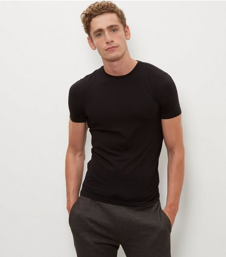 Black Stretch Crew Neck T-Shirt | New Look