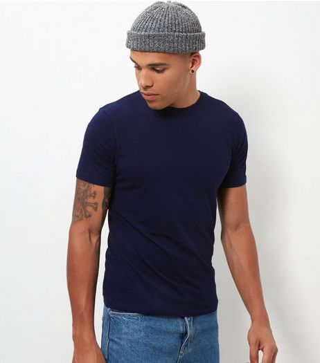 Navy Stretch Crew Neck T-Shirt | New Look