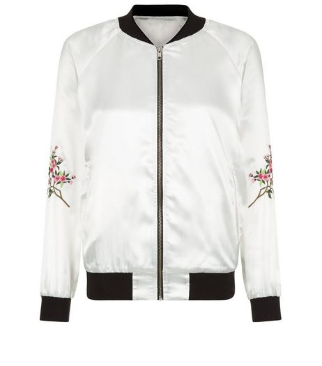 Innocence Cream Embroidered Satin Bomber Jacket  | New Look