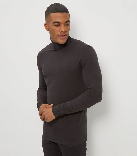 Black Cotton Stretch Mix Turtle Neck Top | New Look