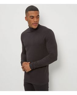 Black Cotton Stretch Turtle Neck Top | New Look