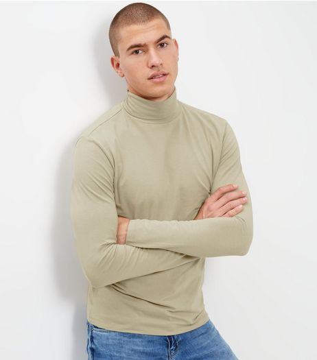 Olive Green Cotton Mix Stretch Roll Neck | New Look