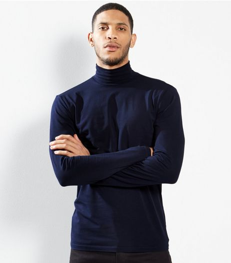Navy Cotton Roll Neck T-Shirt | New Look
