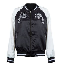 Innocence Black Contrast Sleeve Floral Embroidered Bomber Jacket | New Look